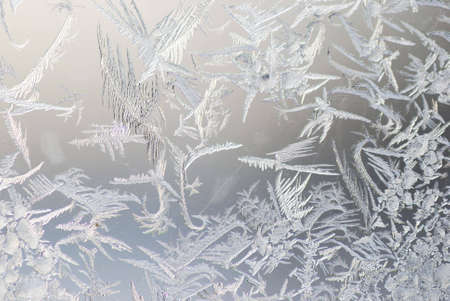 close up shot of ice crystals on a window Stock Photo