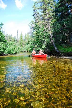 カナダの川に canu ツアー 写真素材