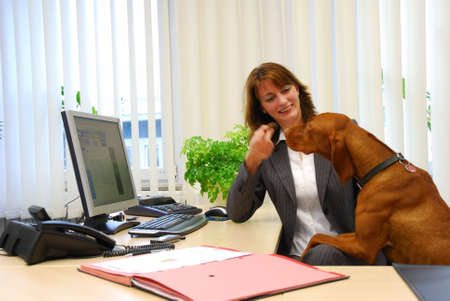 businesswoman with a dog in the office