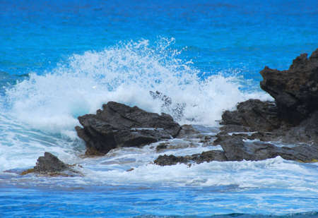 pounding: pounding waves on the shoreline of the ocean
