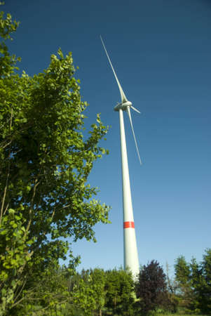 contraction side and windmill on a beautiful summer day Stock Photo