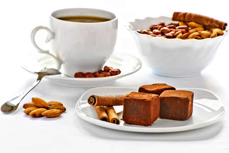chocolate truffles on a plate photo