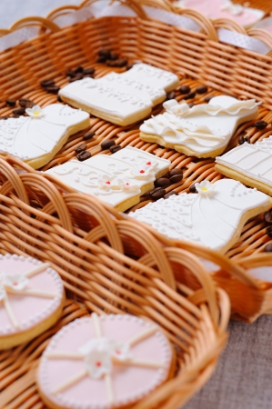 Wedding cakes in white icing in a basket Stock Photo - 16229415