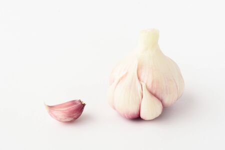 Onion slices with husk Isolated on a white background