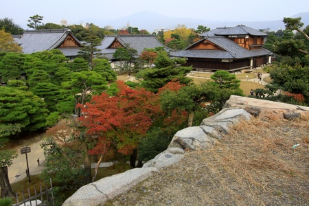 nijo: Nijo castle in colorful leaf and tree in japan : Koyo  Editorial