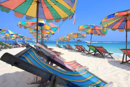 Beach chair and colorful umbrella on the beach , Phuket Thailand  Stockfoto