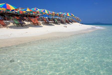 Beach chair and colorful umbrella on the beach , Phuket Thailand Stock Photo - 9780996