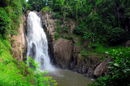 hew narok waterfall : beautiful waterfall in thailand at khaoyai national park photo