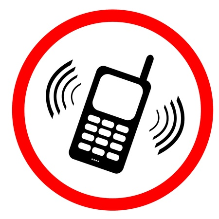 No mobile phone sign : Please use vibrate or silent mode Stock Photo