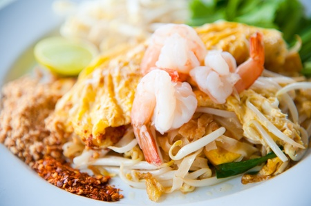 Stir-fried rice noodles with egg, and shrimp (Pad Thai)