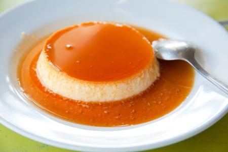 Delicious vanilla custard in caramel sauce