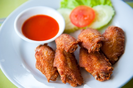 deep fried spicy chicken wing with chili sauce Stock Photo - 10193371