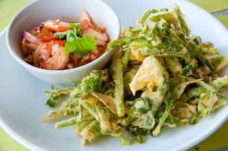deep fried morning glory with spicy shrimp salad