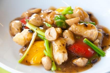 Stir-fried colorful vegetables, mushroom and herb photo
