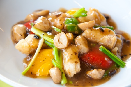 stir fry: Stir-fried colorful vegetables, mushroom and herb Stock Photo