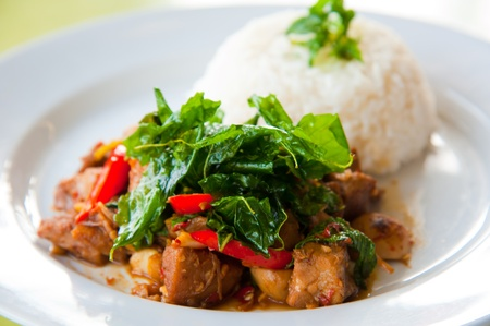 plato de comida: delicioso arroz caliente con carne de cerdo frita, hierbas verdes y hortalizas Foto de archivo
