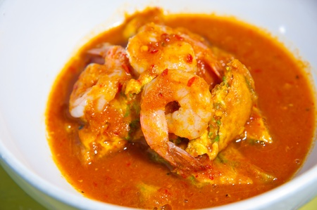 cha om: hot and sour curry with tamarind sauce, shrimp and vegetables : Delicious thai traditional food (kang som cha-om koong) Stock Photo
