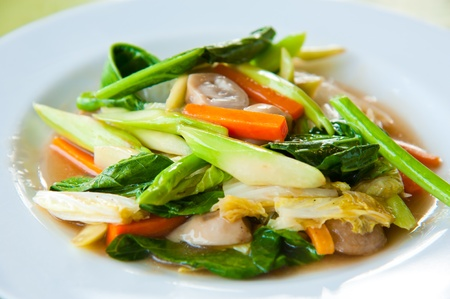 Stir-fried mix colorful vegetables and herb