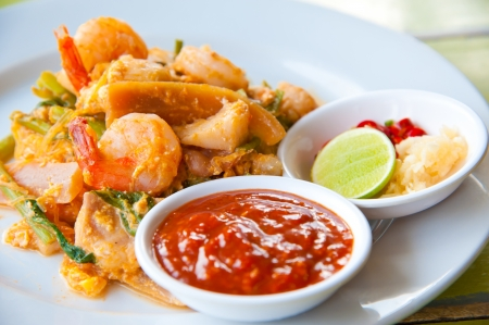 fried seafood Sukiyaki in Thai style with sauce photo