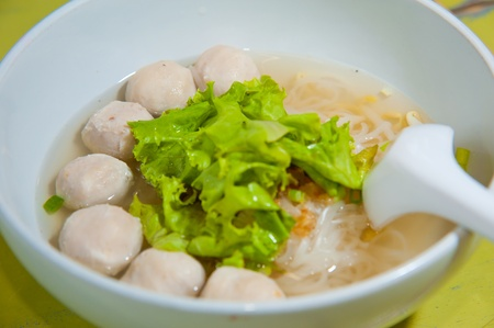 Asian cuisine, rice noodles with fish ball and meat ball Stock Photo - 10280630