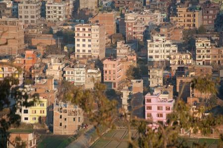 kathmandu: An evening cityscape of many buildings of Kathmandu City, Nepal. View from Swayambhunath pagoda