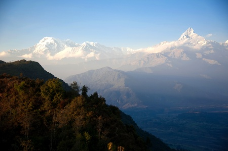 Beautiful evening view and sunset time of the Himalayan mountains when see from Sarangkot, Pokhara, Nepal