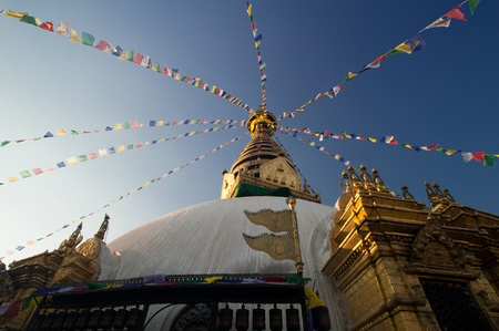 Swayambhunath pagoda is the famous landmark Buddhist temple in Kathmandu, Nepal. The temple is also know as the monkey temple