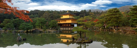 Panorama of Kinkakuji in autumn season - the famous Golden Pavilion at Kyoto, Japan.