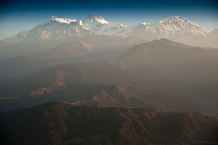 Beautiful morning view and sunrise time of the Himalayan mountains when see from Sarangkot, Pokhara, Nepal photo