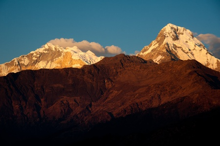 Beautiful view of Himalayan mountains when see during Poonhill peak trekking way, Nepal Standard-Bild