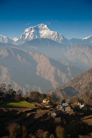Beautiful view of green field, local house and Himalayan mountains when see during Poonhill peak trekking way, Nepal