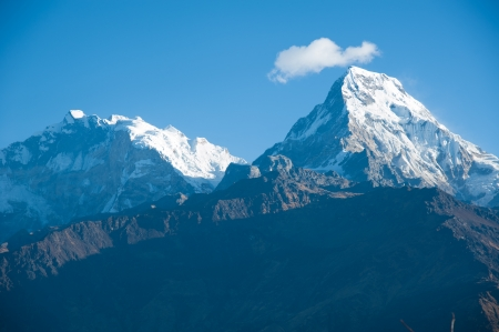 difficult journey: Beautiful view of Himalayan mountains in morning when see from the top of Poonhill peak, Nepal