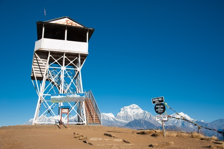 Beautiful construction and landmark at the top of Poonhill peak, Nepal photo