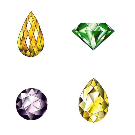 Many type and collection of colorful jewelry and diamond shape