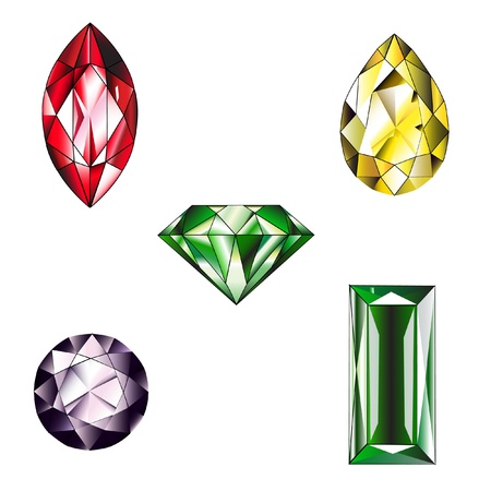 Many type and collection of colorful jewelry and diamond shape photo