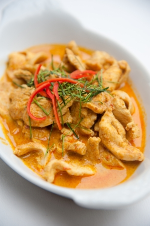 Dried red pork coconut curry  Panaeng    Delicious and famous Thailand food photo
