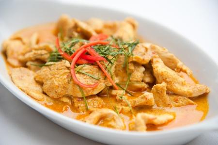 curry: Rojo seco de cerdo al curry de coco Panaeng Delicious y famosa comida de Tailandia