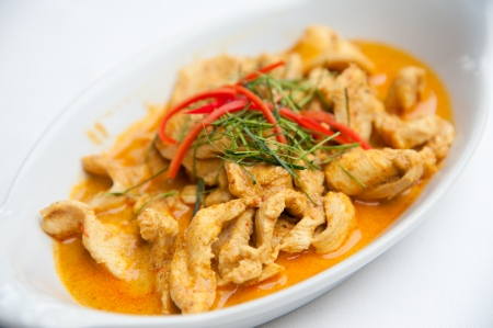 coconut milk: Dried red pork coconut curry  Panaeng    Delicious and famous Thailand food