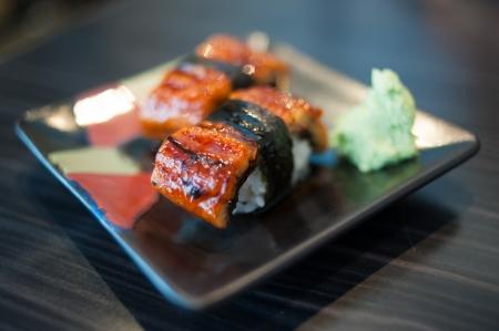 Close up of Unagi Sushi Set  Japan eel  photo