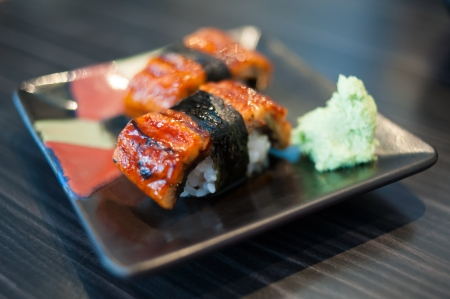 Close up of Unagi Sushi Set  Japan eel  photo