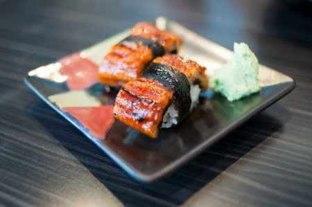 Close up of Unagi Sushi Set  Japan eel Stock Photo