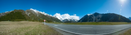 Beautiful panorama view in Mount Cook National Park, South Island, New Zealand photo