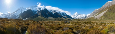 Beautiful panorama view and glacier in Mount Cook National Park, South Island, New Zealand photo