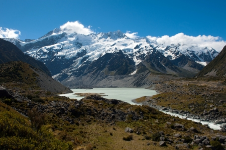 Beautiful view and glacier in Mount Cook National Park, South Island, New Zealand Stock Photo - 17240866