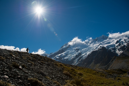 Beautiful view and glacier in Mount Cook National Park, South Island, New Zealand Stock Photo - 17240856