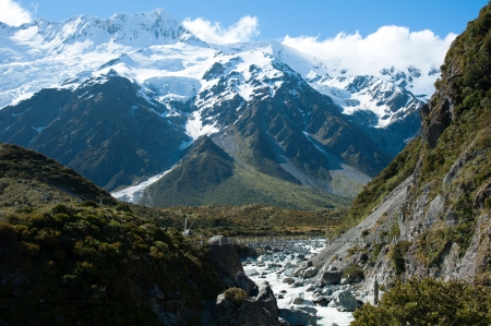 Beautiful view and glacier in Mount Cook National Park, South Island, New Zealand photo