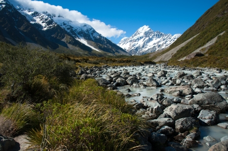Beautiful view and glacier in Mount Cook National Park, South Island, New Zealand Stock Photo - 17240871