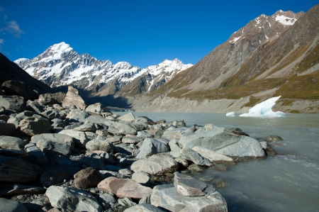 Beautiful view and glacier in Mount Cook National Park, South Island, New Zealand Stock Photo - 17240864