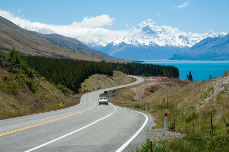 Beautiful landscape of road, lake and snow mountain in South Island, New Zealand photo