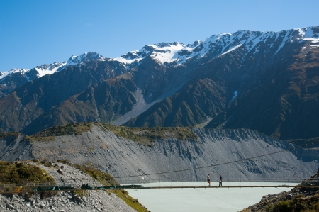 aoraki mount cook national park: Beautiful view of snow mountain during walk to glacier in Mount Cook National Park, South Island, New Zealand